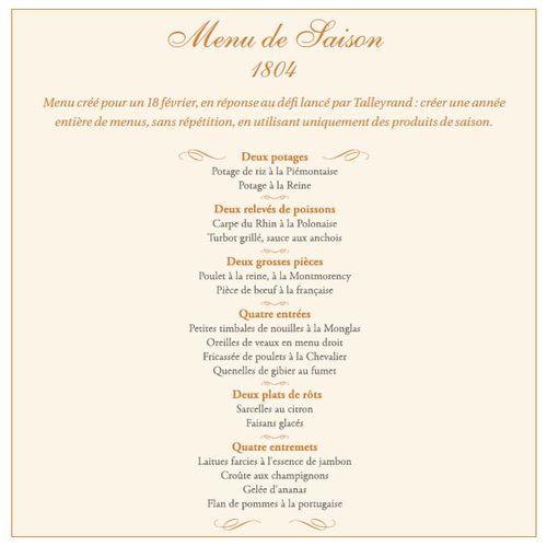 Image result for menu de saison 1804 france